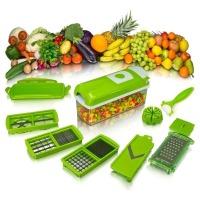 O Nicer Dicer Plus é um processador de alimentos multifuncional com 14 peças. Descasca, fatia, corta em cubos em 3 tamanhos diferentes, corta em tiras, faz cortes triangulares de 2 tamanhos